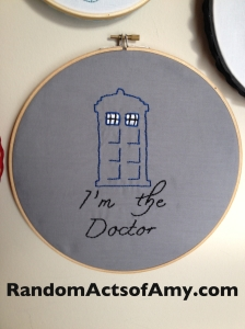 In keeping with tradition, Todd and I embroidered gifts for each other. Todd embroidered this awesome TARDIS for me.